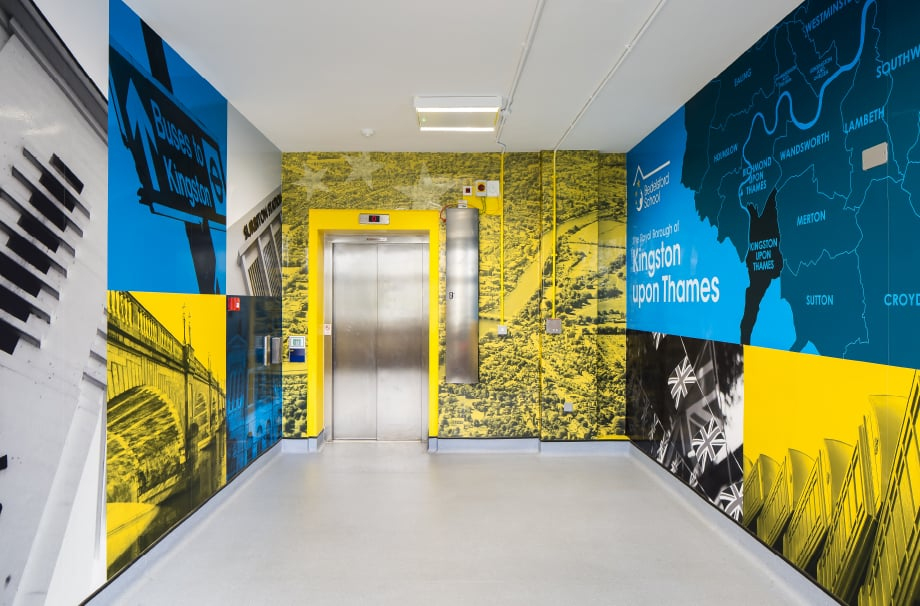 Bedelsford School Bespoke local landmark corridor Wall Art