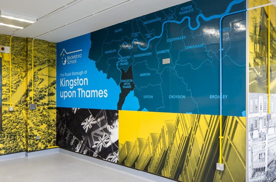 Kingston Upon Thames Bespoke Local landmark infographic school Wall Art
