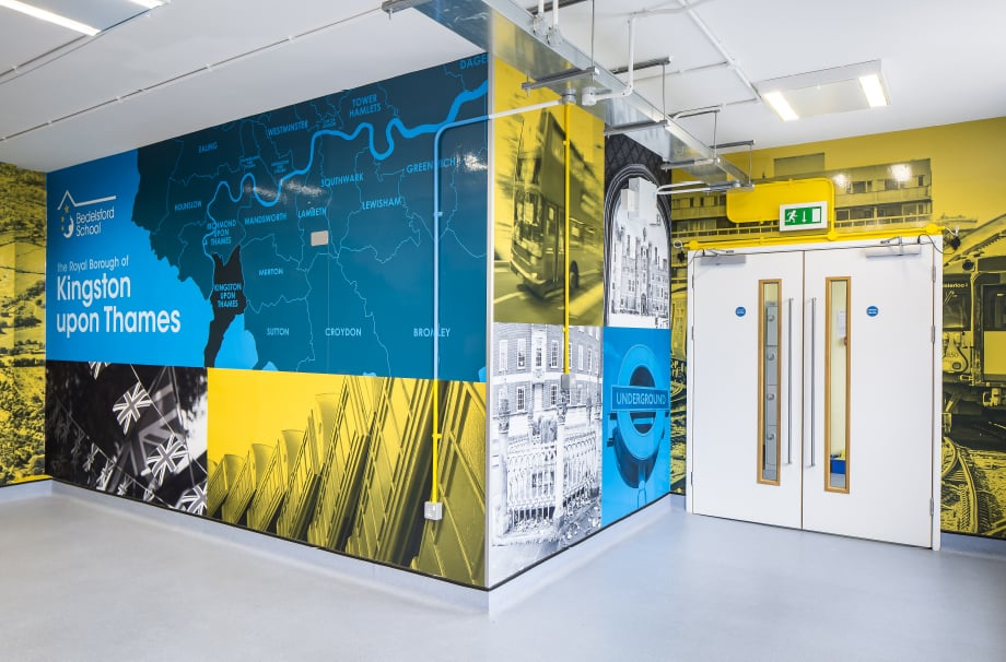 Bedlesford School bespoke local landmark informative wall art