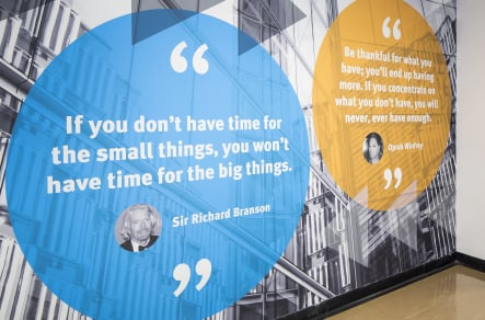 Inspirational quotes bespoke college corridor wall art