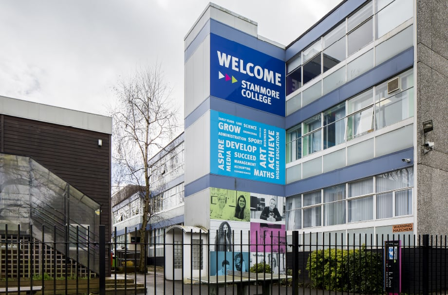 Stanmore College inspirational bespoke feature for external wall art