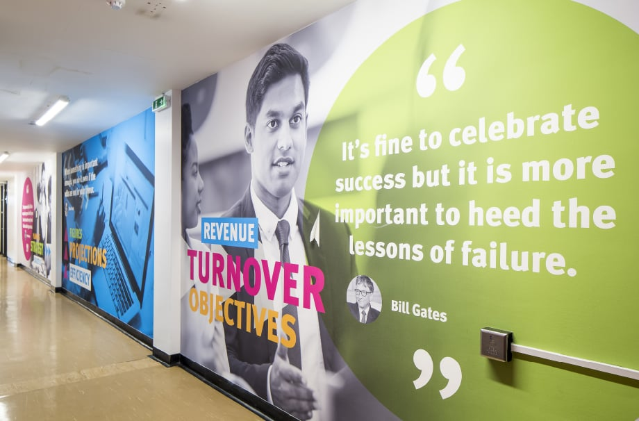 Stanmore College inspirational bespoke motivational corridor wall art
