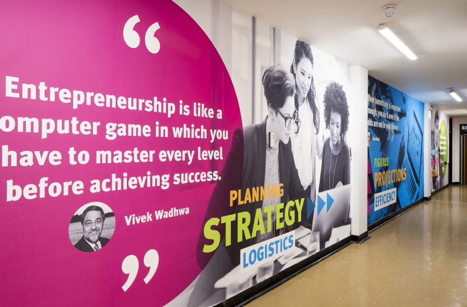 Stanmore College motivational bespoke corridor wall art