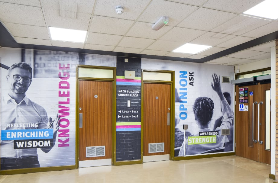 Stanmore College motivating and encouraging values throughway wall art