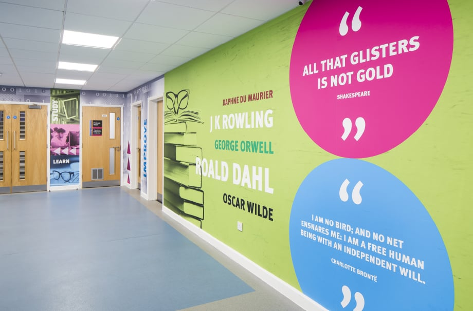 Stanmore College Inspirational literature quotes corridor wall art