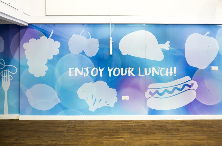 Healthy eating themed motivational school hall wrap feature wall art