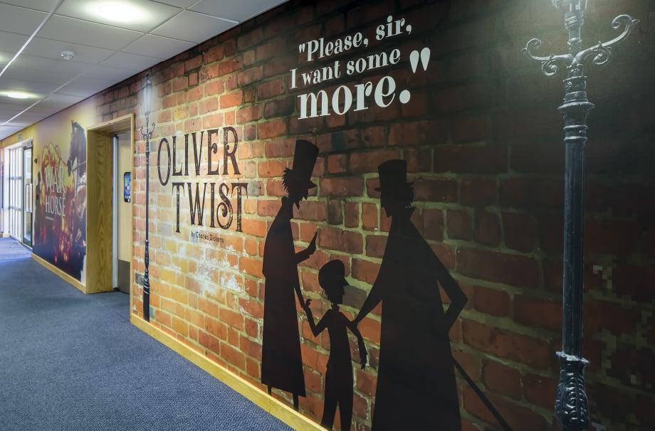 Lee Chapel School Oliver Twist book themed corridor wall art