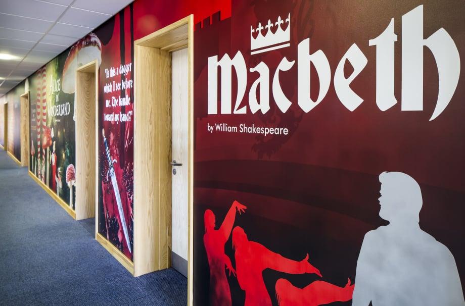 Lee Chapel Shakespeare themed corridor literature wall art
