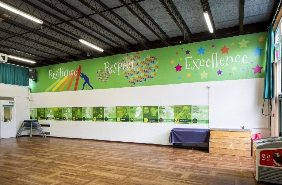 Streatham Wells core values school hall wall art