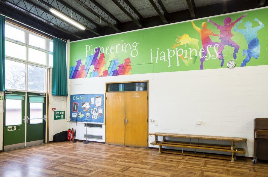 Streatham Wells bespoke key values feature school hall wall art