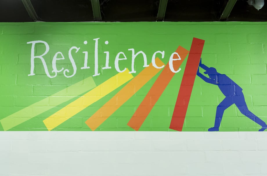 Bespoke school values feature for school hall wall art