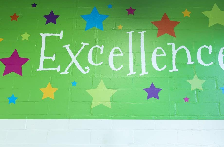 Streatham Wells values feature school hall wall art