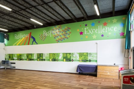 Streatham Wells School hall values wall art