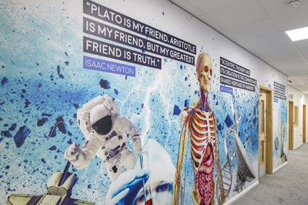 Brampton Academy science subject corridor wall art