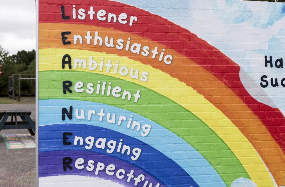Chorleywood Primary school values feature wall art