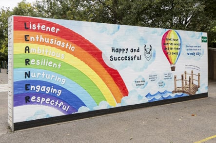 Chorleywood primary values feature playground wall art