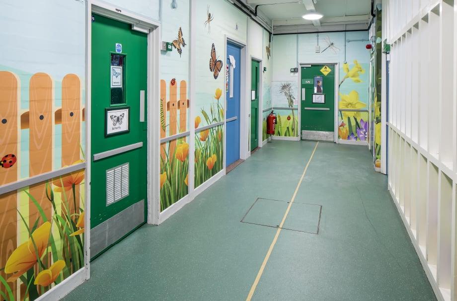 Five Acre Wood mini beasts themed corridor wall art