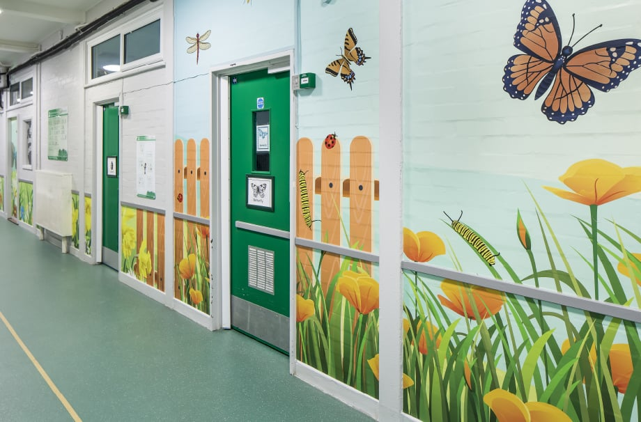 Schools Minibeasts themed colourful corridor wall art