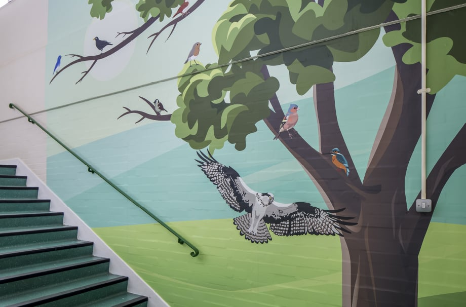 Five Acre Wood School themed stairway wall art