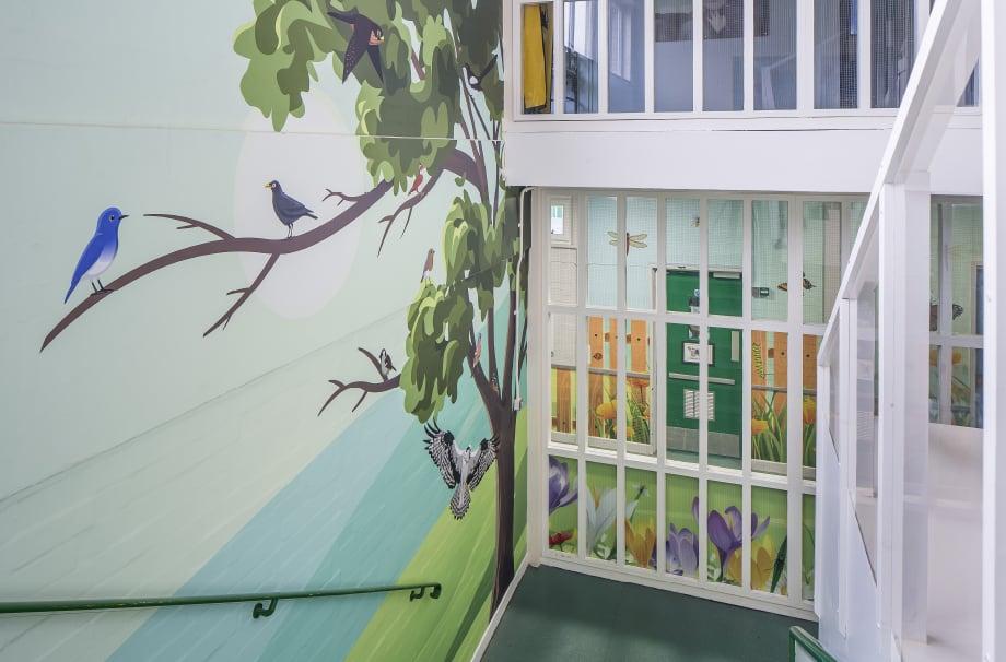 Five Acre Wood School bespoke themed stairway wall art