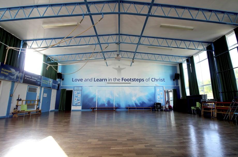 St Joseph School RE hall bespoke key values wall art