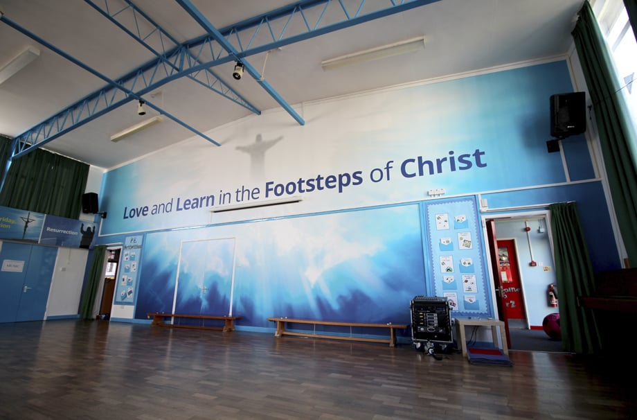 St Josephs Catholic School RE hall bespoke core values wall art
