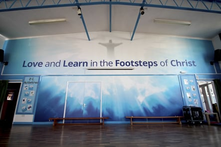 St Joseph's bible themed school hall wall art