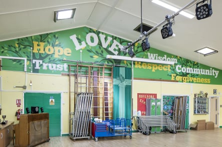 St Marys community values school hall wall art