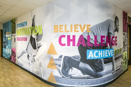 Stanmore College London sports corridor wall art