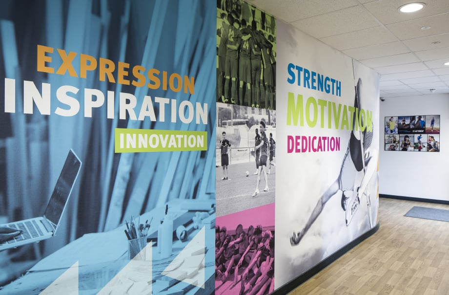 Stanmore college Bespoke graphic and design sports themed wall art