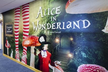 Make your school a happy place wonderland corridor wall art