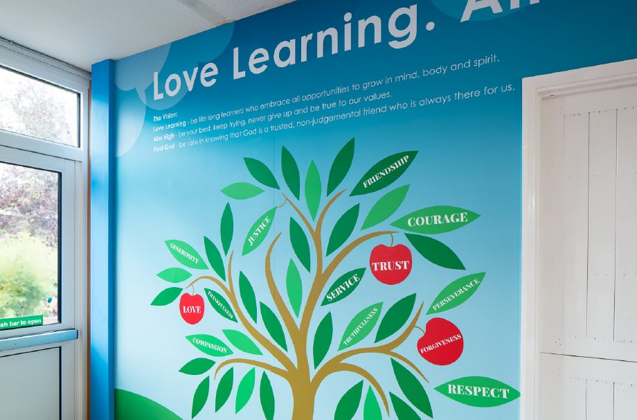 Hertford St Andrew bespoke values school corridor Wall Art