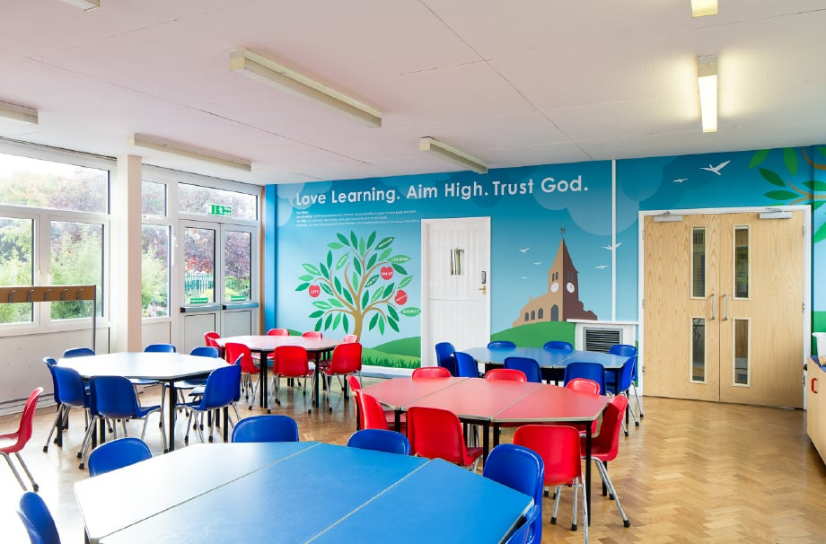 Hertford St Andrew school values vibrant canteen area Wall Art