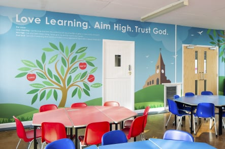 Hertford St Andrew C of E Primary School values wall art