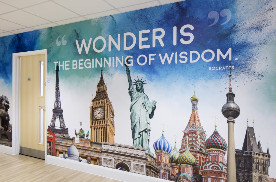St Edmund's Girls inspirational bespoke corridor wall art