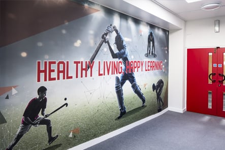 Summer Fields sports hall entrance lobby wall art
