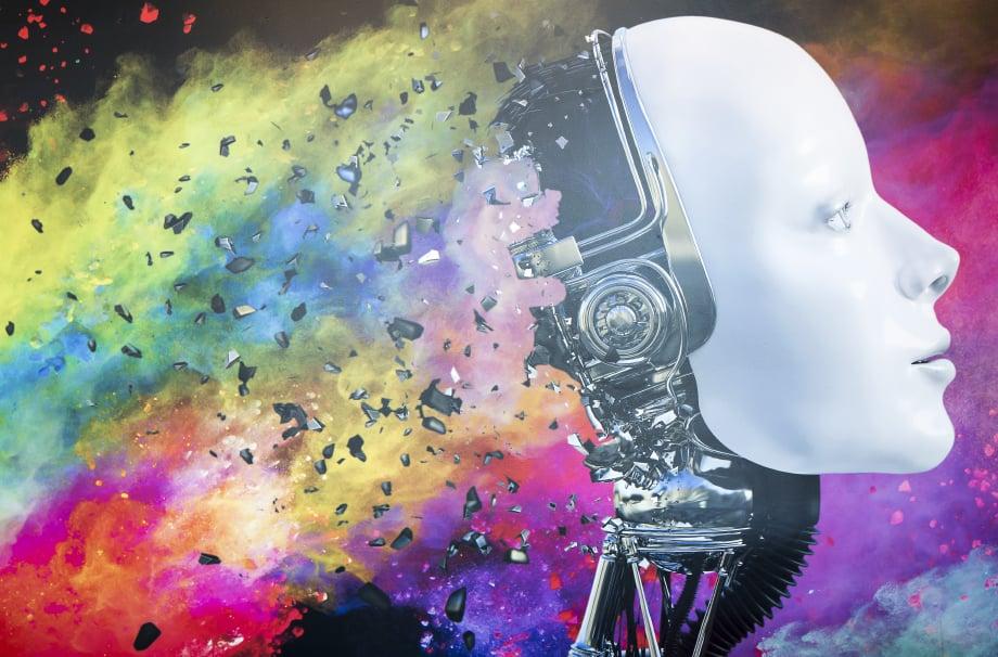 Croydon High School vibrant music themed feature wall art