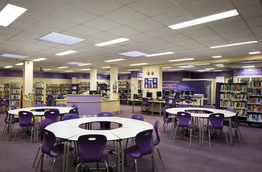 Nower Hill High Schools library feature wall art