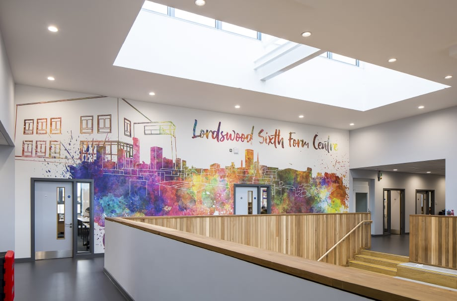Sixth Form Centre bespoke contemporary atrium wall art