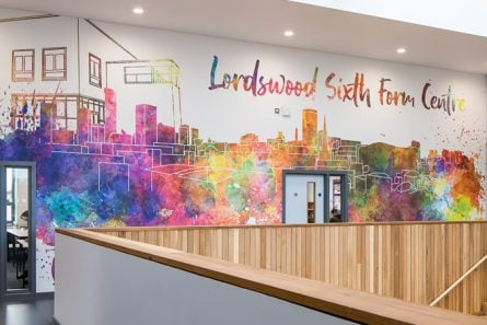 Lordswood Sixth Form Centre contemporary atrium wall art