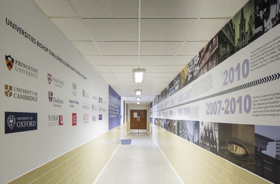 Bishop Challoner School historical timeline corridor wrap wall art