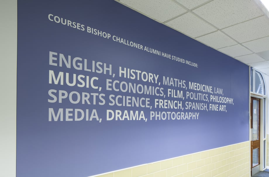 School history subject themed corridor wrap wall art