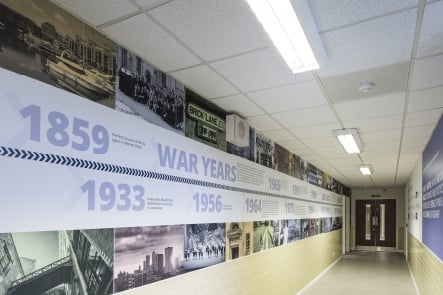 Bishop Challoner School timeline corridor feature wall art