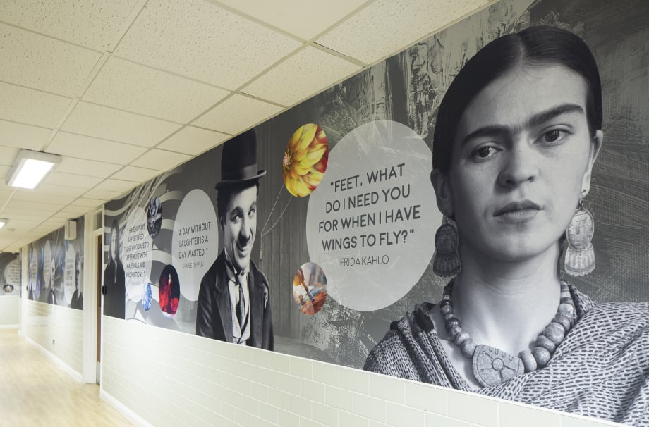 Bishops Challoner Frida Kahlo history's greatest minds corridor wall art