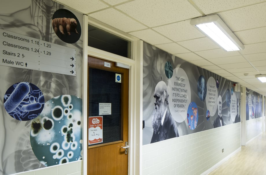 Bishop Challoner School greatest minds of history themed corridor wall art