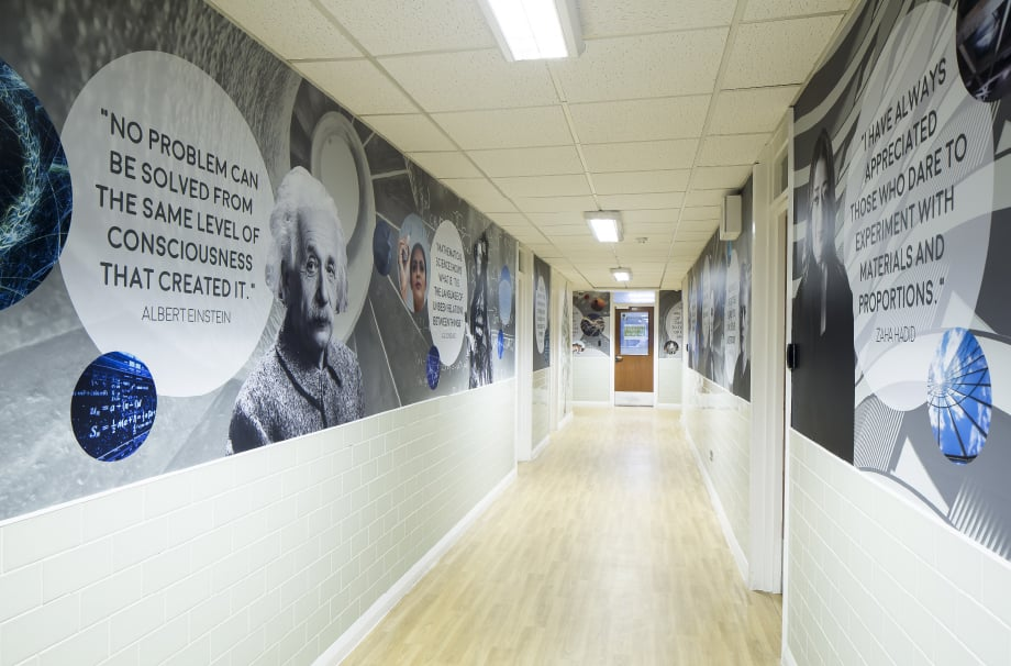 Bishop Challoner greatest minds quote corridor wall art