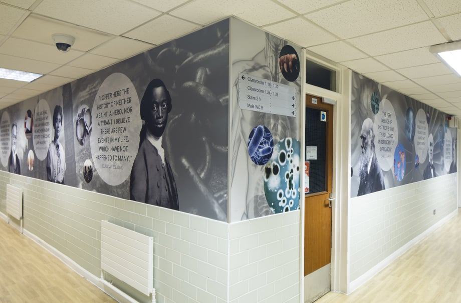 Bishop Challoner history's greatest minds quotes corridor wall art
