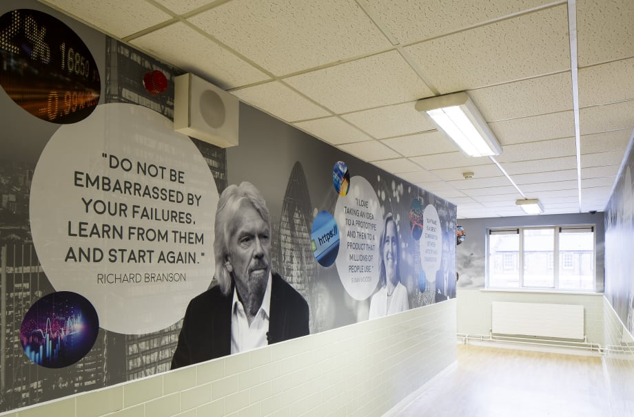 Bishop Challoner greatest minds corridor wall art