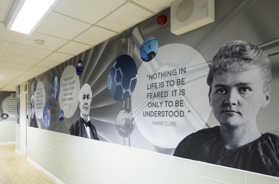 Bishop Challoner sciences greatest minds subject corridor wall art