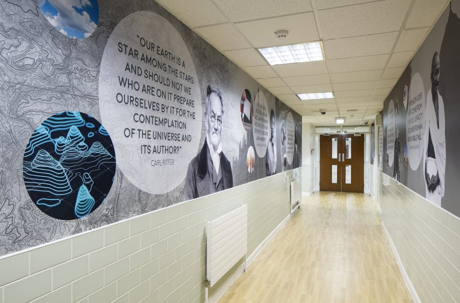 Bishop Challoner School greatest minds motivational corridor wall art